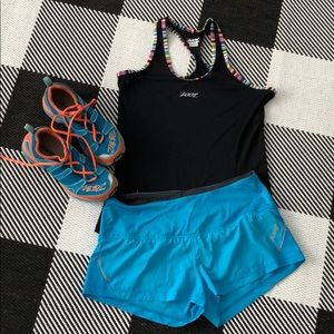 Zoot running shorts bright blue with orange accent